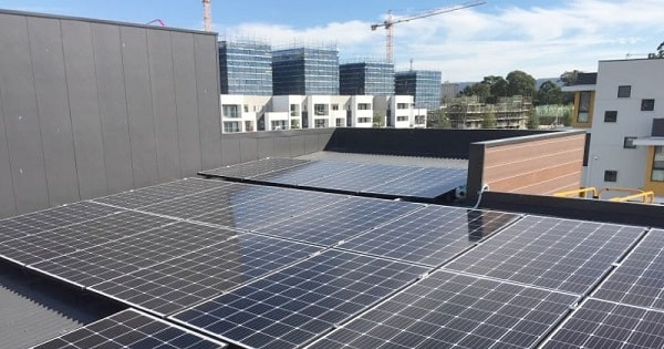Part of a 30kW commercial solar system installed by Skylight Energy